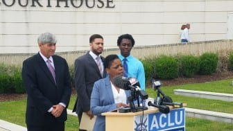 Attorney Oliver Diaz (left), executive director of the ACLU Mississippi Jennifer Riley-Collins and plaintiffs Nykolas Alford and Stephen Thomas announce a lawsuit challenging the constitutionality of HB 1523.
