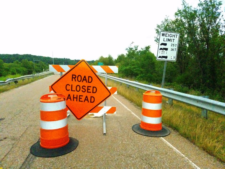 The bridge over Coldwater has been closed by MDOT due to its high degree of decay.