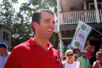 Donald Trump Jr., son of Republican presidential candidate Donald Trump, makes his way to the grandstand to deliver a campaign speech at the Neshoba County Fair on Tuesday.