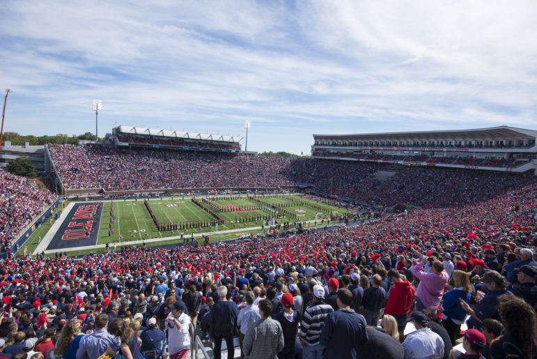 The Pride of the South band performs at Vaught-Hemingway Stadium.