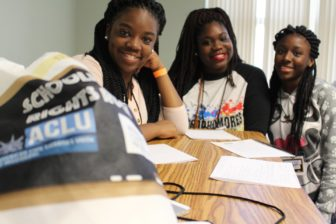 Greenville High School students attending the Schoolhouse Rights Rock event at Mississippi Valley State University on August 27. L-R: Shondreka Johnson, Shakara Barber, and Calondra Austin.