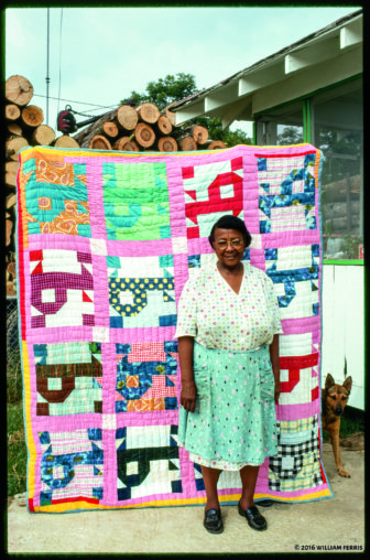 """Pecolia Warner with her """"P"""" quilt, Yazoo City, Mississippi, 1975"""