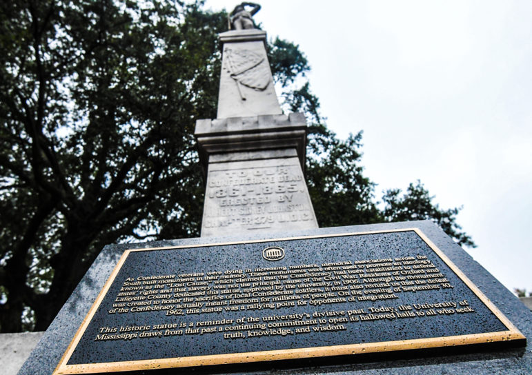 The Confederate monument at the Circle at the University of Mississippi, in Oxford.