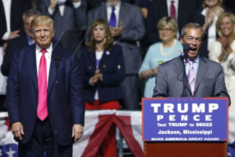 Nigel Farage, ex-leader of the British UKIP party, speaks as Republican presidential candidate Donald Trump, left, listens, at Trump's campaign rally in Jackson on Aug. 24