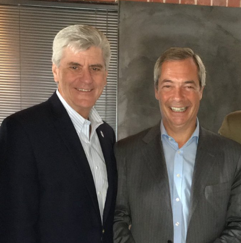 Gov. Phil Bryant, left, poses with Nigel Farage during the Brexit leader's visit to Mississippi in August.