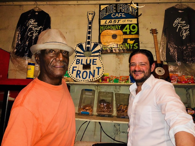 "Jimmy ""Duck"" Holmes and Stephen Thompson pose for a picture at the Blue Front Cafe in Bentonia."