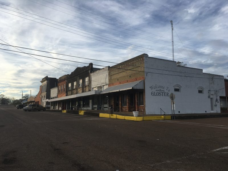 Main Street in Gloster, MS.